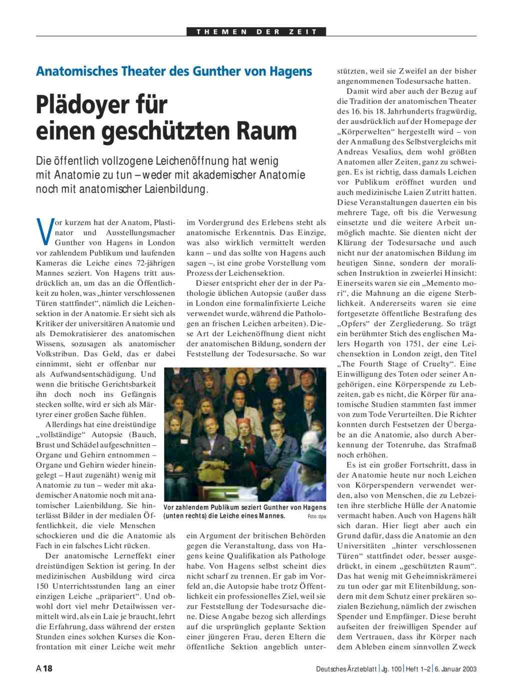 Anatomisches Theater des Gunther von Hagens: Plädoyer für einen ...