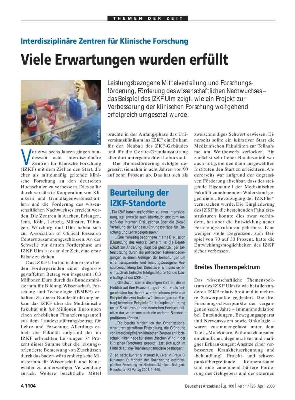 Interdisziplinäre Zentren für Klinische Forschung: Viele Erwartungen ...