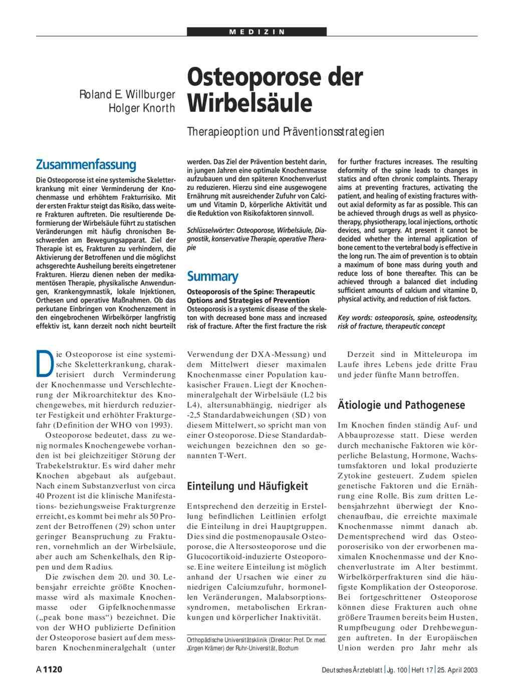 Osteoporose der Wirbelsäule: Therapieoption und Präventionsstrategien