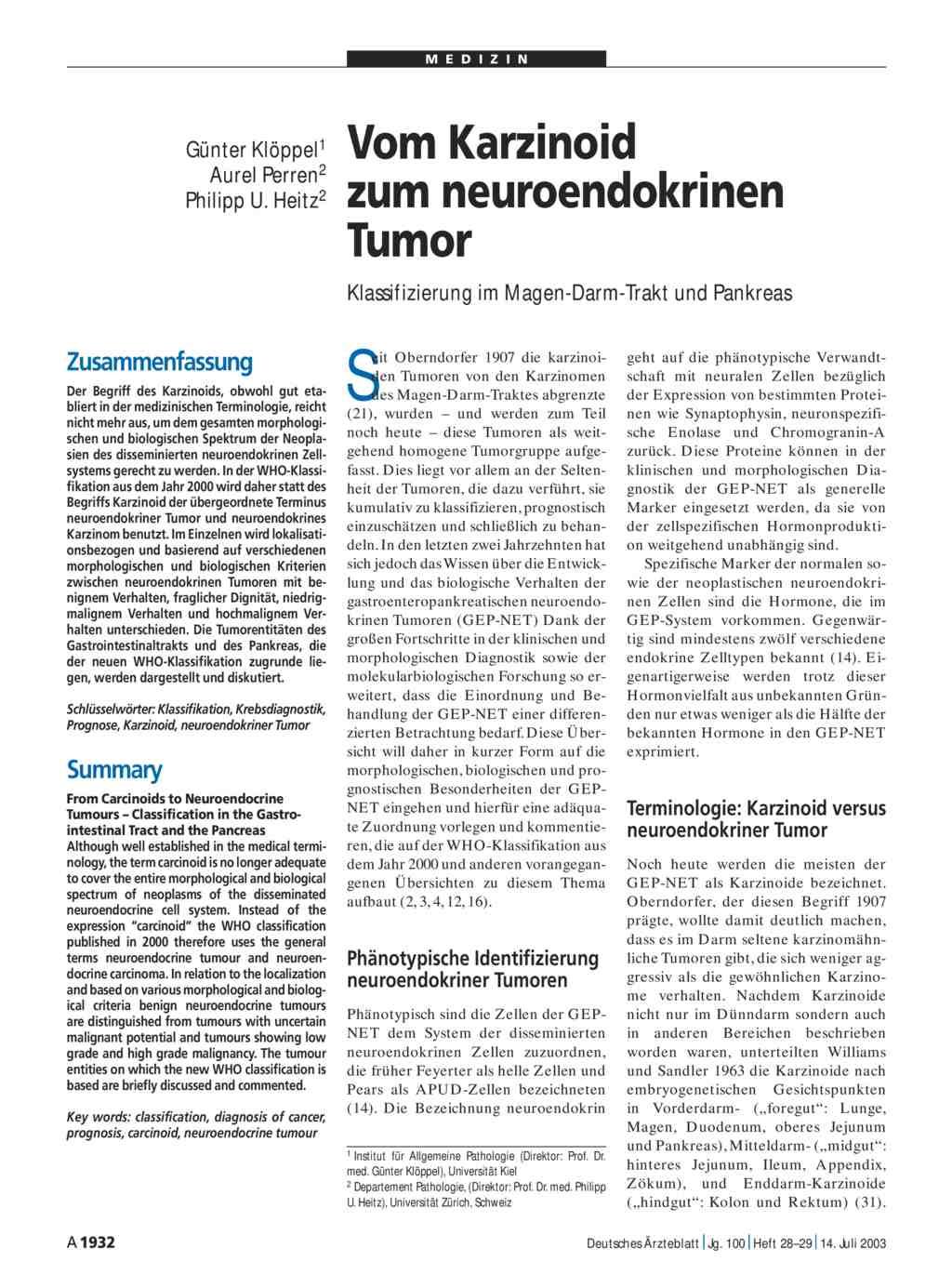 Vom Karzinoid zum neuroendokrinen Tumor: Klassifizierung im Magen ...