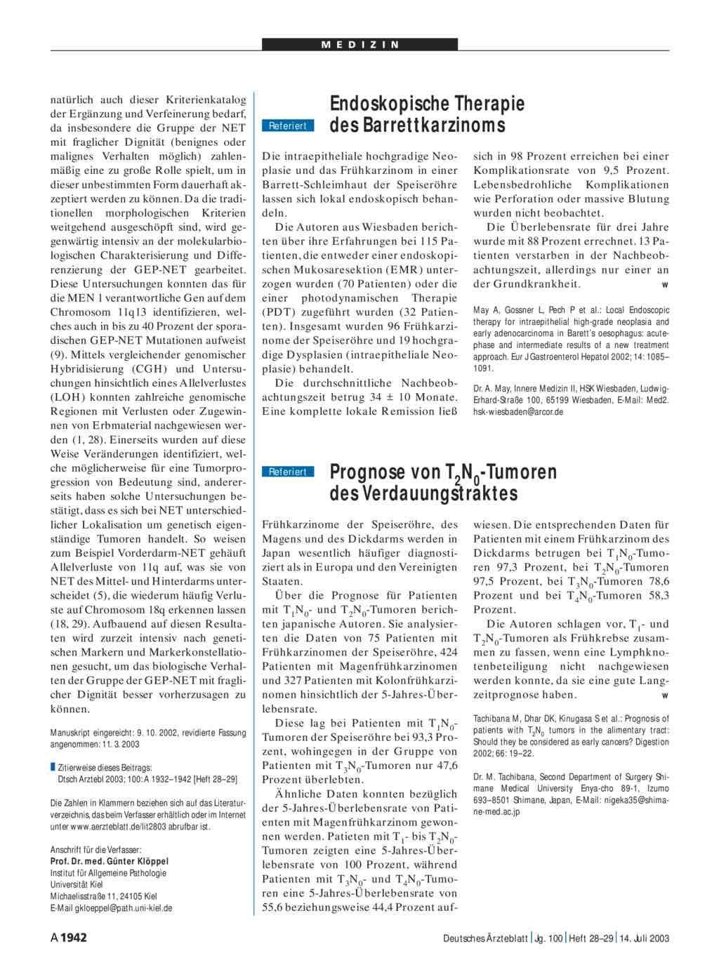 Prognose von T2N0-Tumoren des Verdauungstraktes