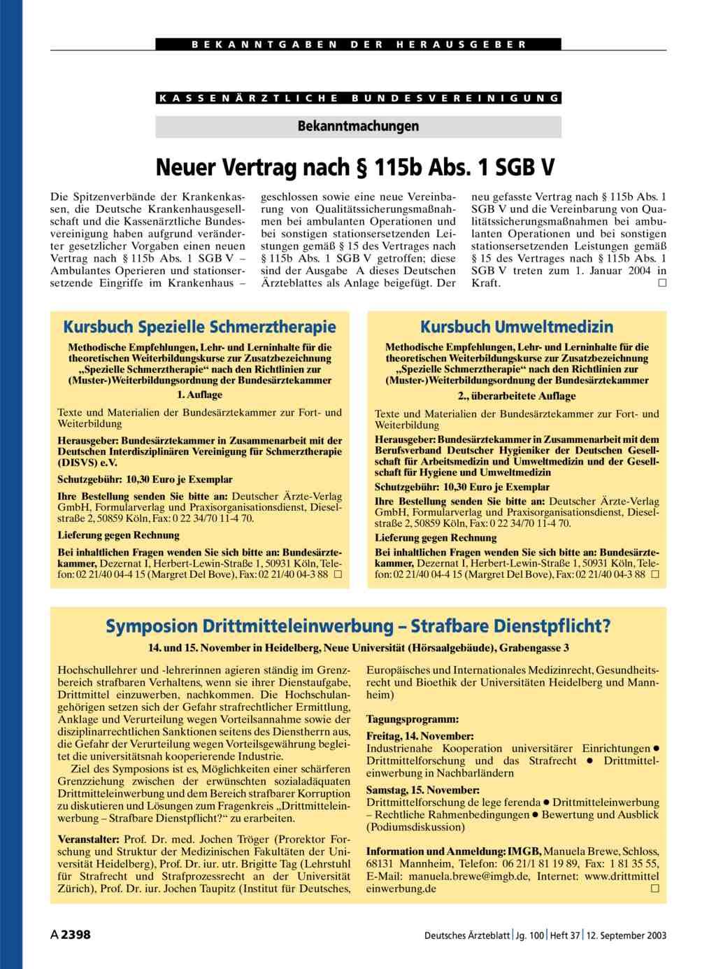 Neuer Vertrag Nach 115b Abs 1 Sgb V