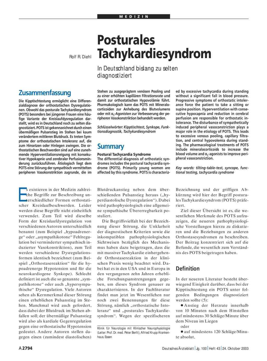 Posturales Tachykardiesyndrom In Deutschland Bislang Zu Selten