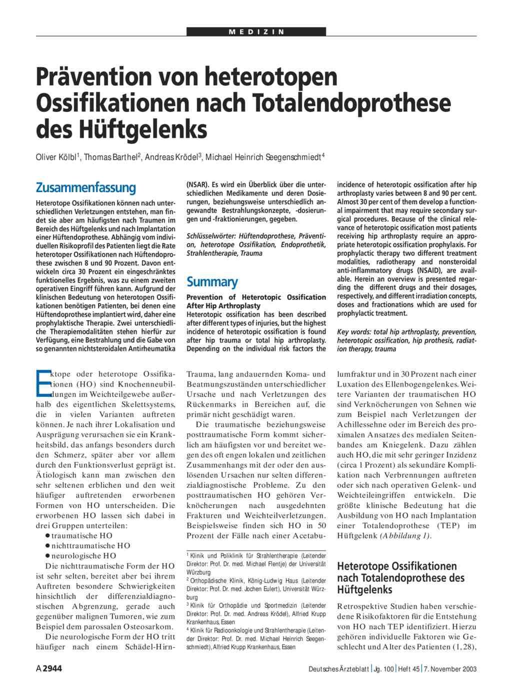Pravention Von Heterotopen Ossifikationen Nach Totalendoprothese