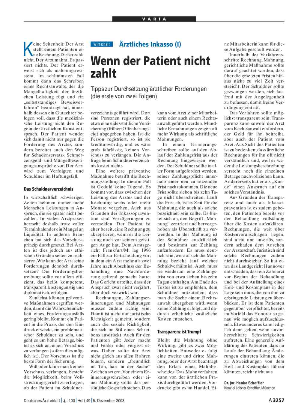 ärztliches Inkasso I Wenn Der Patient Nicht Zahlt