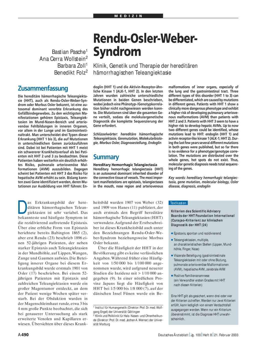 Rendu-Osler-Weber-Syndrom: Klinik, Genetik und Therapie der ...