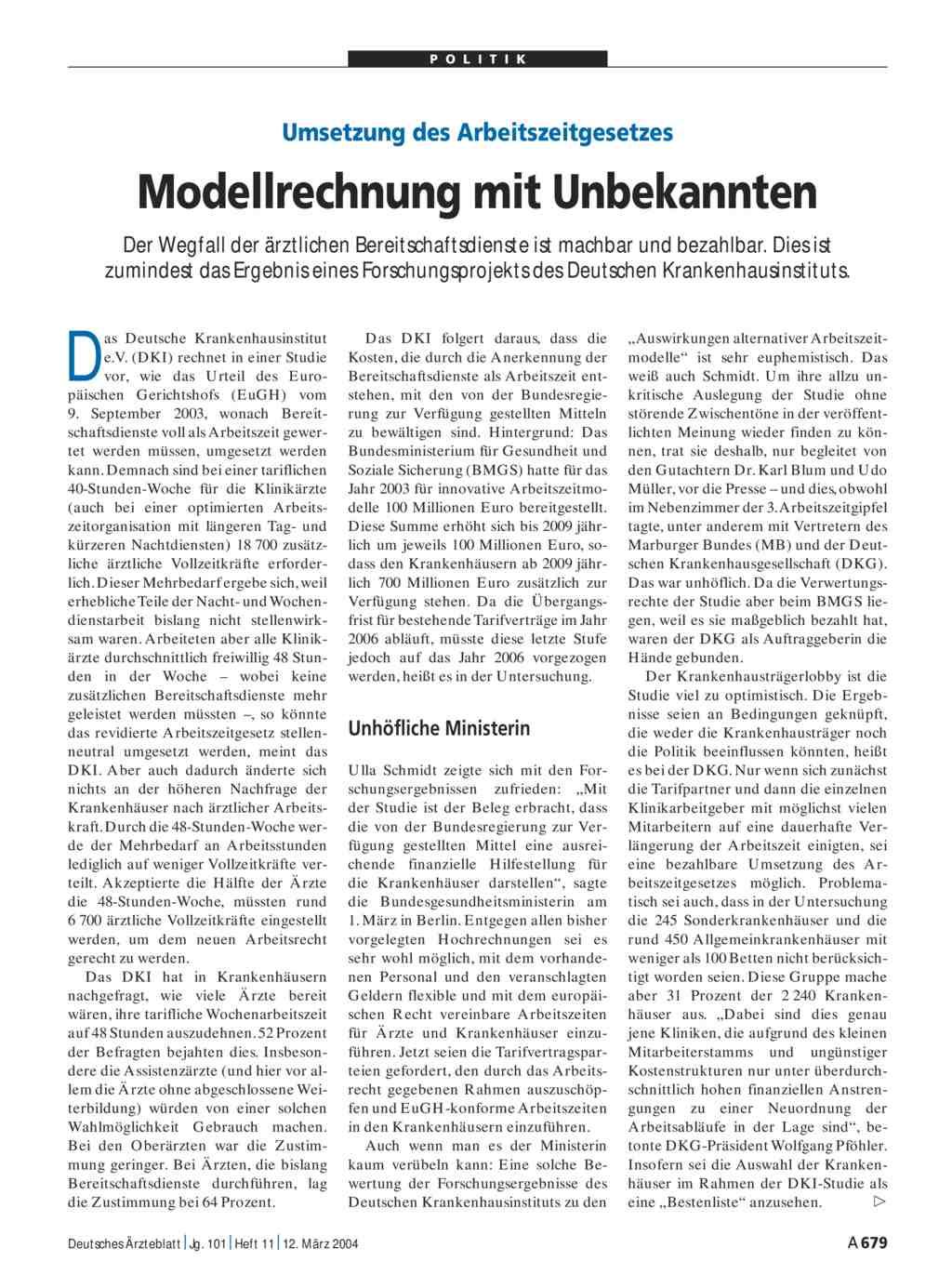 Umsetzung Des Arbeitszeitgesetzes Modellrechnung Mit Unbekannten