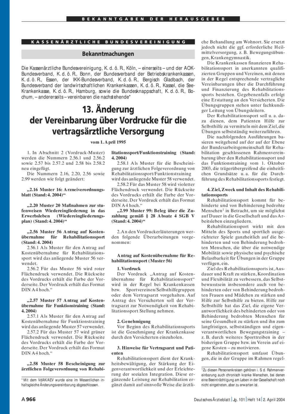 bekanntmachungen 13 nderung der vereinbarung ber vordrucke fr die vertragsrztliche versorgung - Kostenubernahme Krankenkasse Muster
