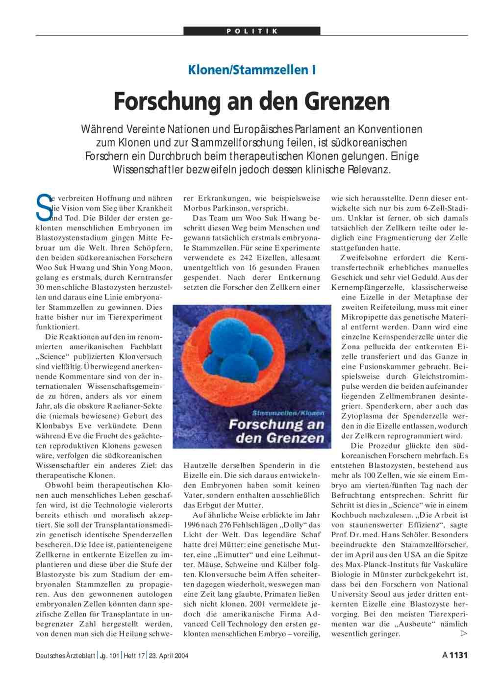 Klonen/Stammzellen I: Forschung an den Grenzen