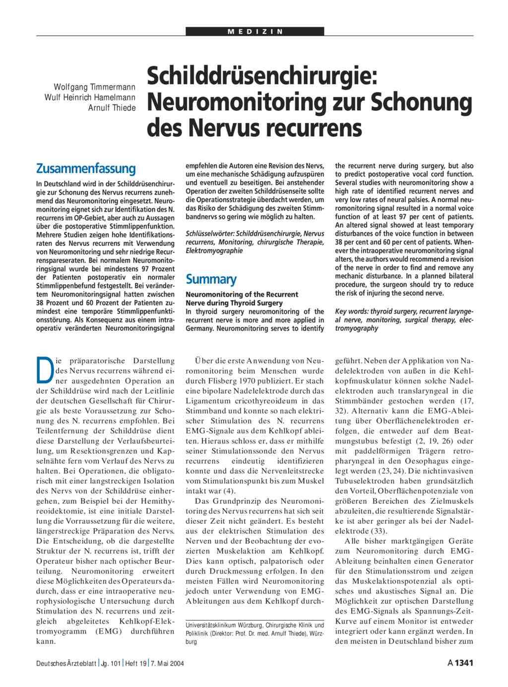 Schilddrüsenchirurgie: Neuromonitoring zur Schonung des Nervus recurrens