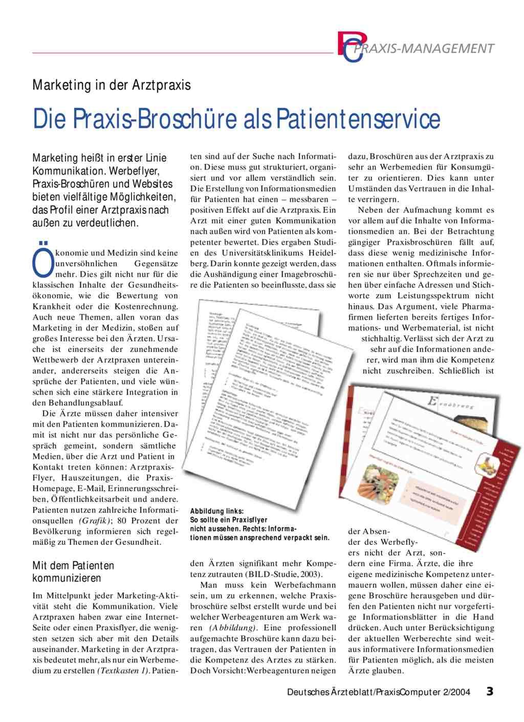 Marketing in der Arztpraxis: Die Praxis-Broschüre als Patientenservice