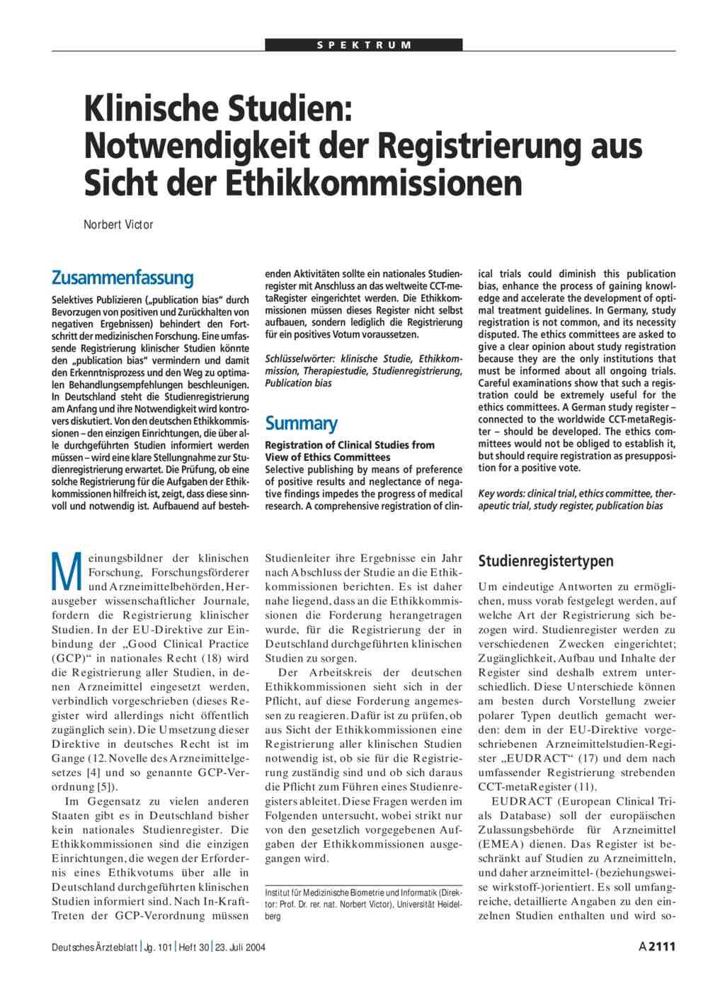 Klinische Studien: Notwendigkeit der Registrierung aus Sicht der ...
