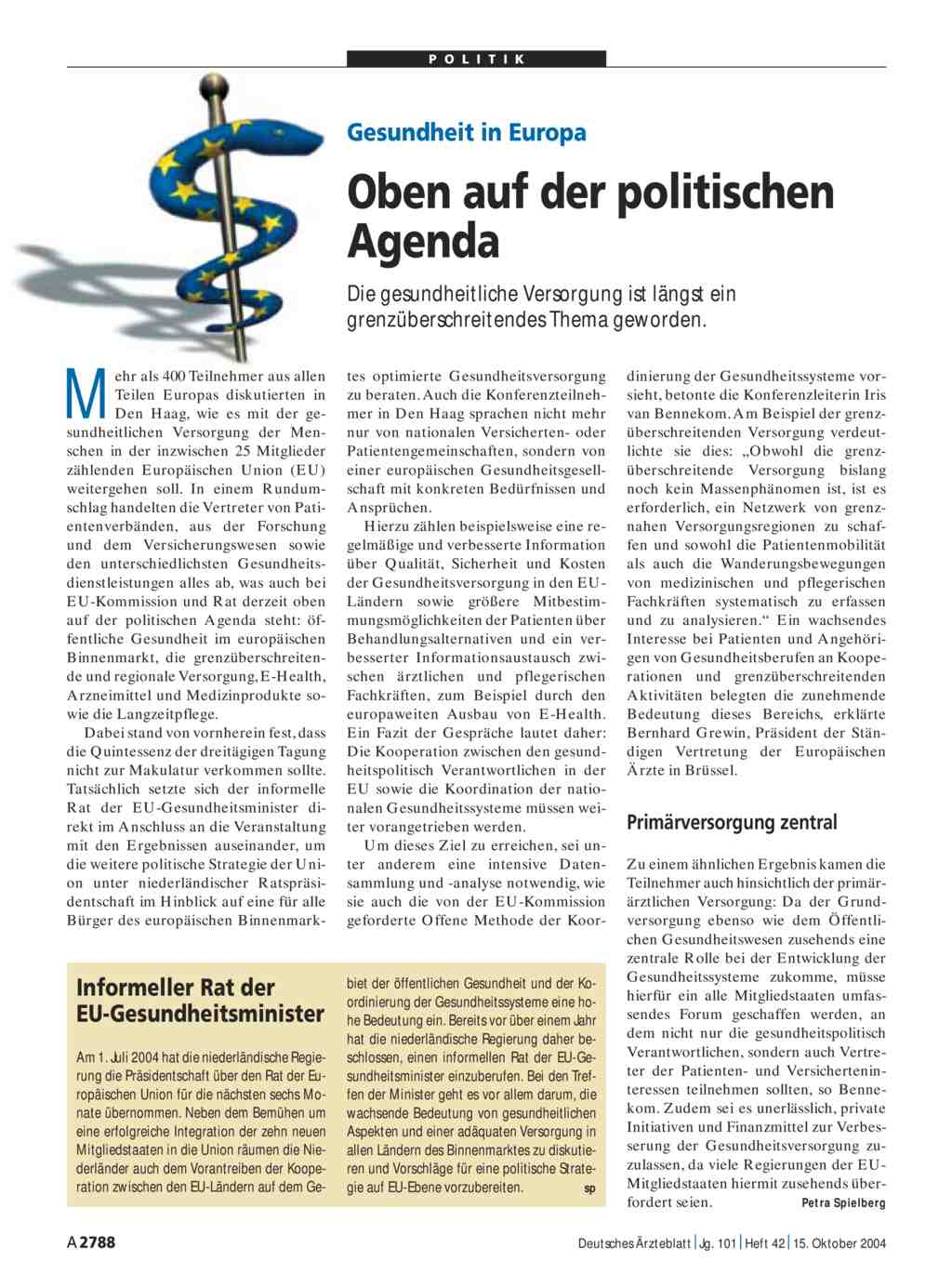 Gesundheit in Europa: Oben auf der politischen Agenda
