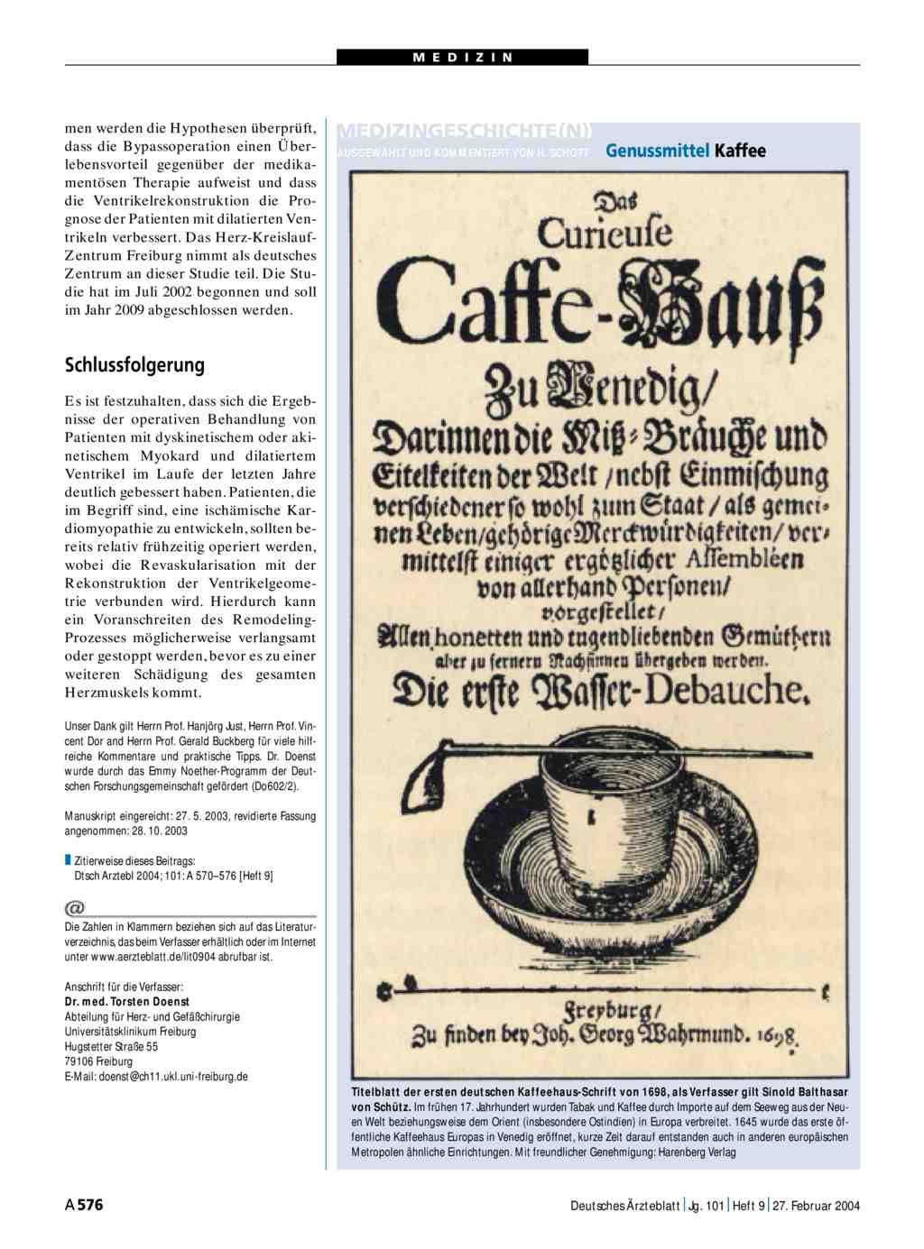 Medizingeschichte n genussmittel kaffee for Medizin studieren schweiz