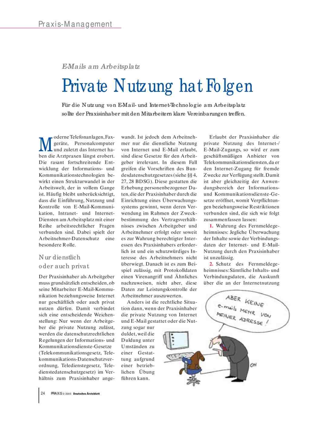 E Mails Am Arbeitsplatz Private Nutzung Hat Folgen