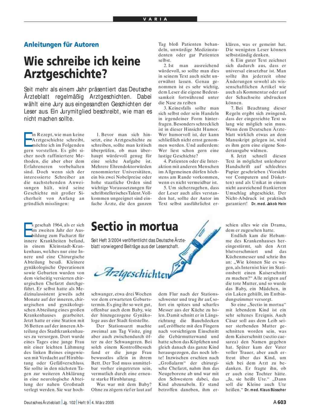 Arztgeschichten: Beiträge aus der Leserschaft. Sectio in mortua