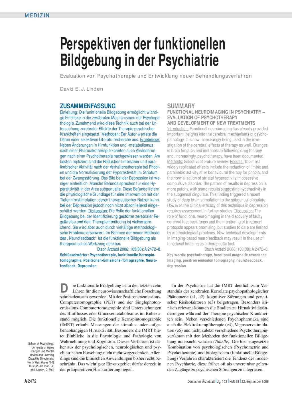 Perspektiven Der Funktionellen Bildgebung In Der Psychiatrie