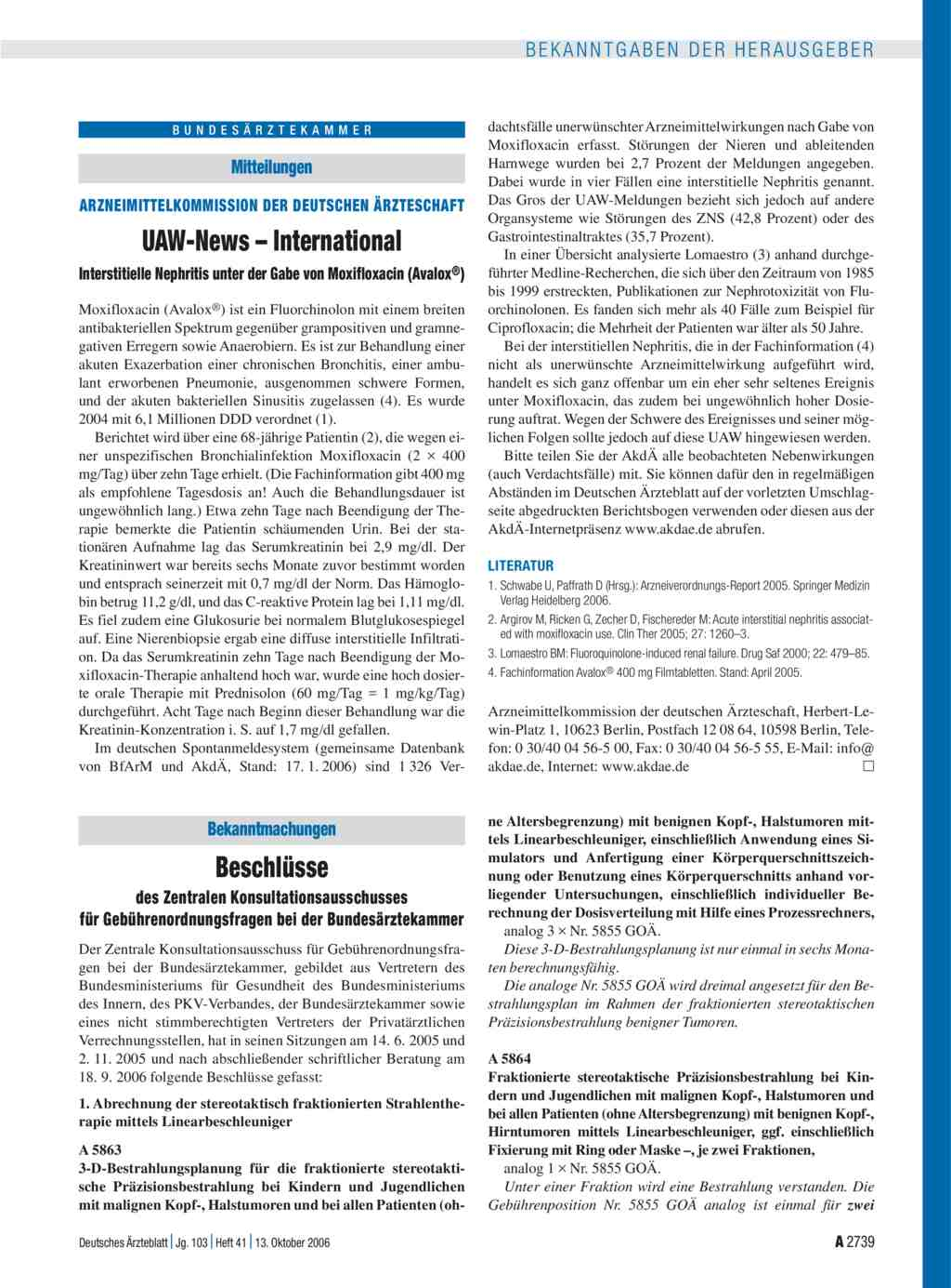 Mitteilungen Uaw News International Interstitielle Nephritis