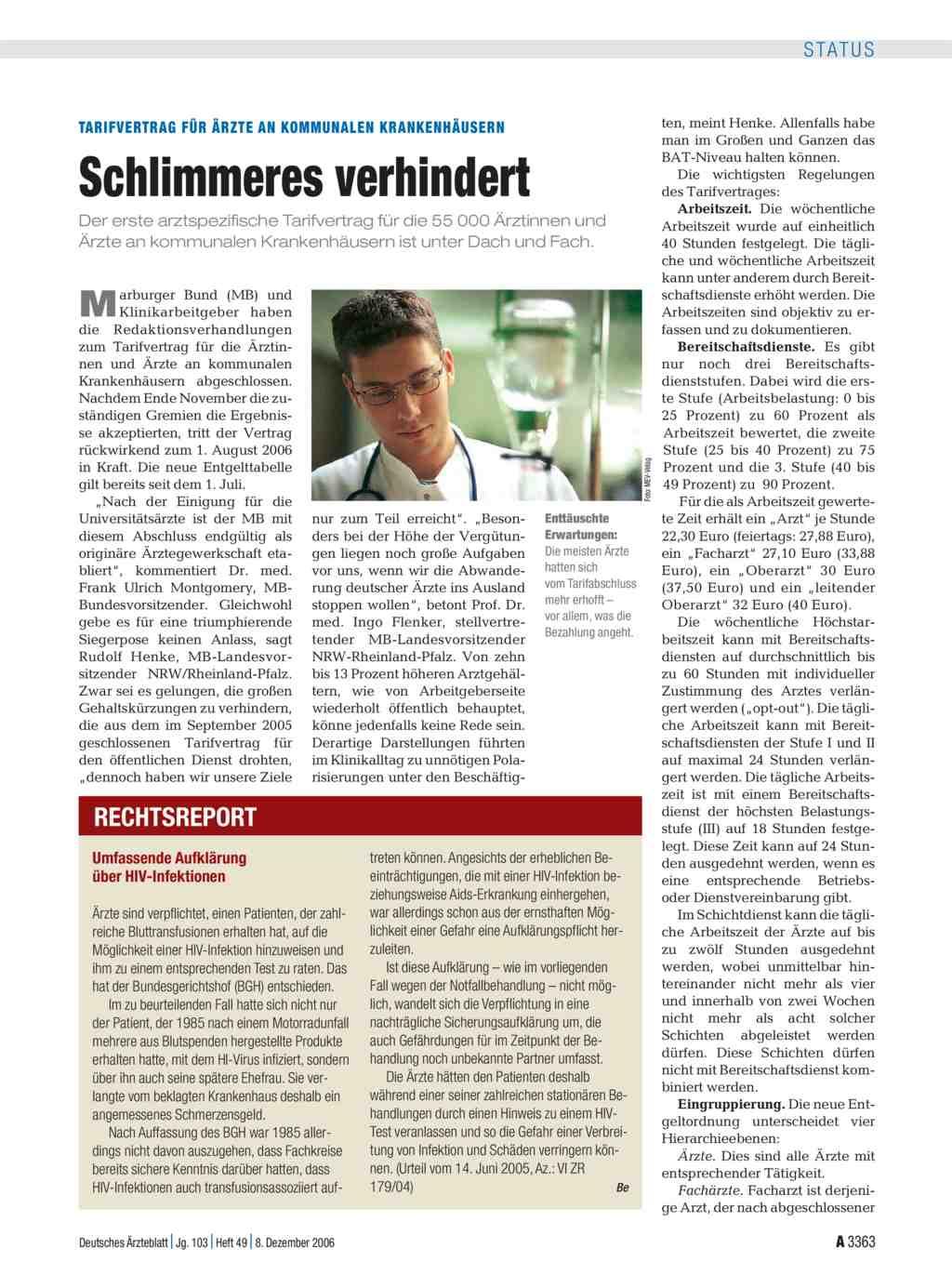 Tarifvertrag f r rzte an kommunalen krankenh usern for Medizin studieren schweiz