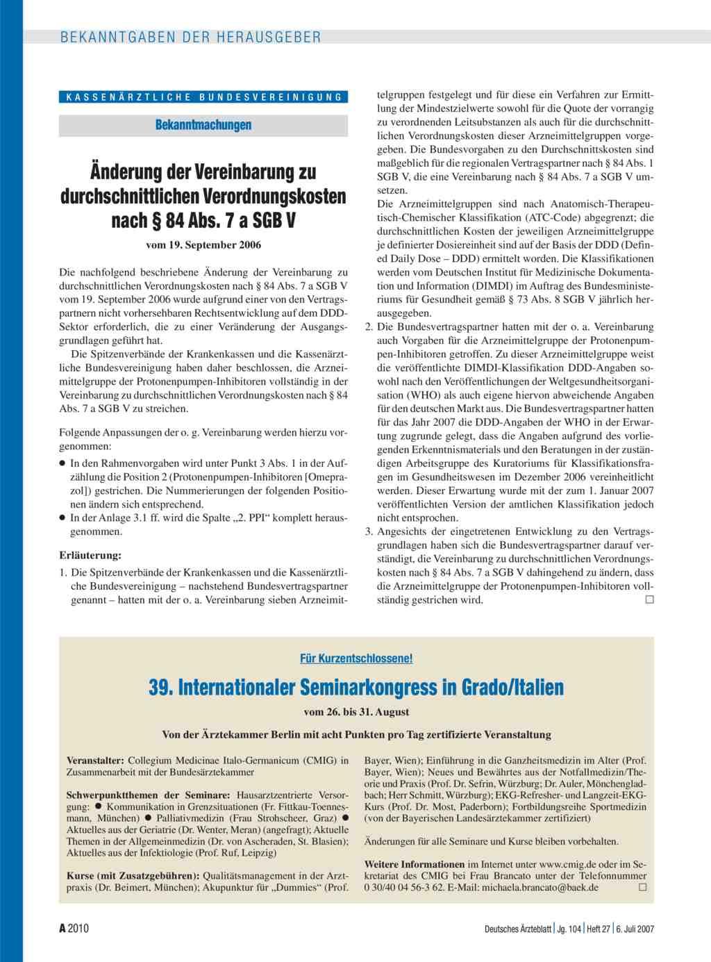 änderung Der Vereinbarung Zu Durchschnittlichen Verordnungskosten