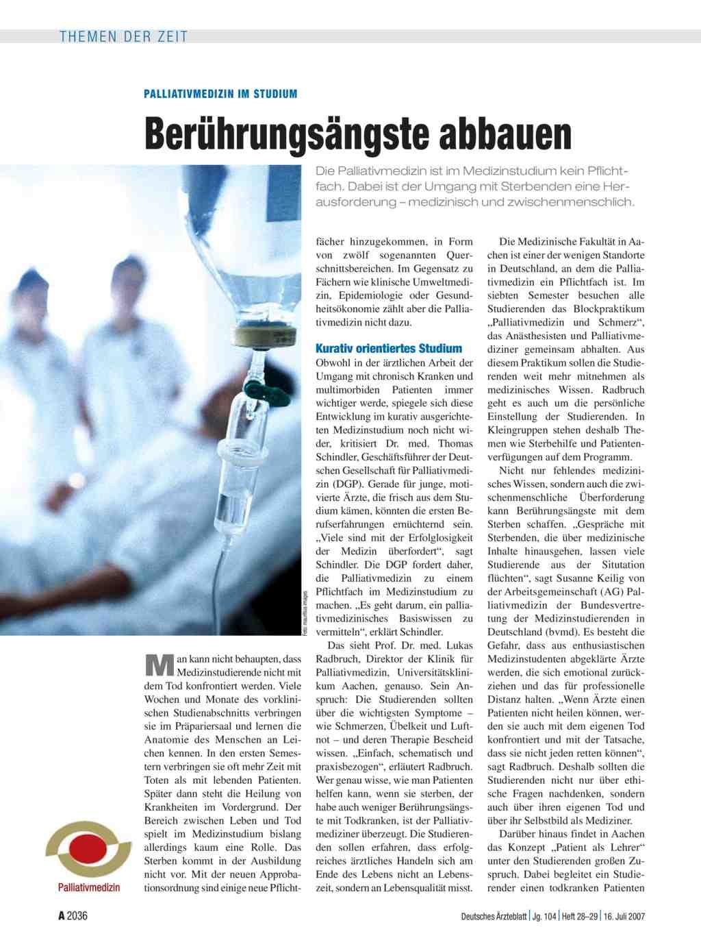 Palliativmedizin im Studium: Berührungsängste abbauen