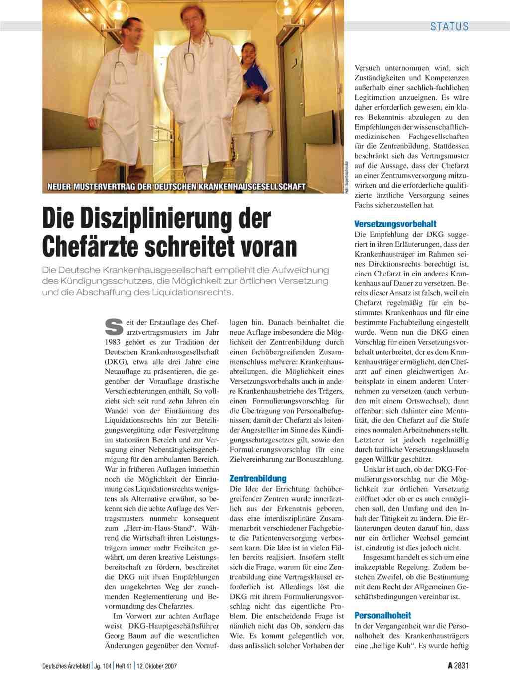 Neuer Mustervertrag Der Deutschen Krankenhausgesellschaft Die