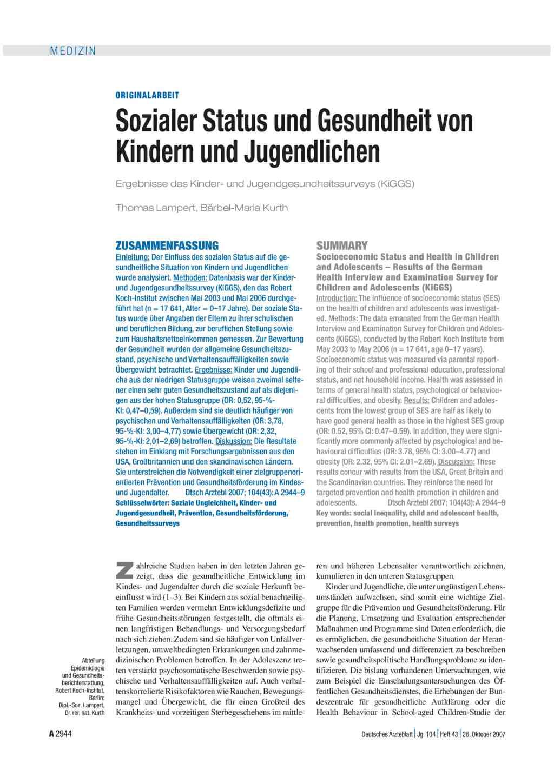 Sozialer Status und Gesundheit von Kindern und Jugendlichen
