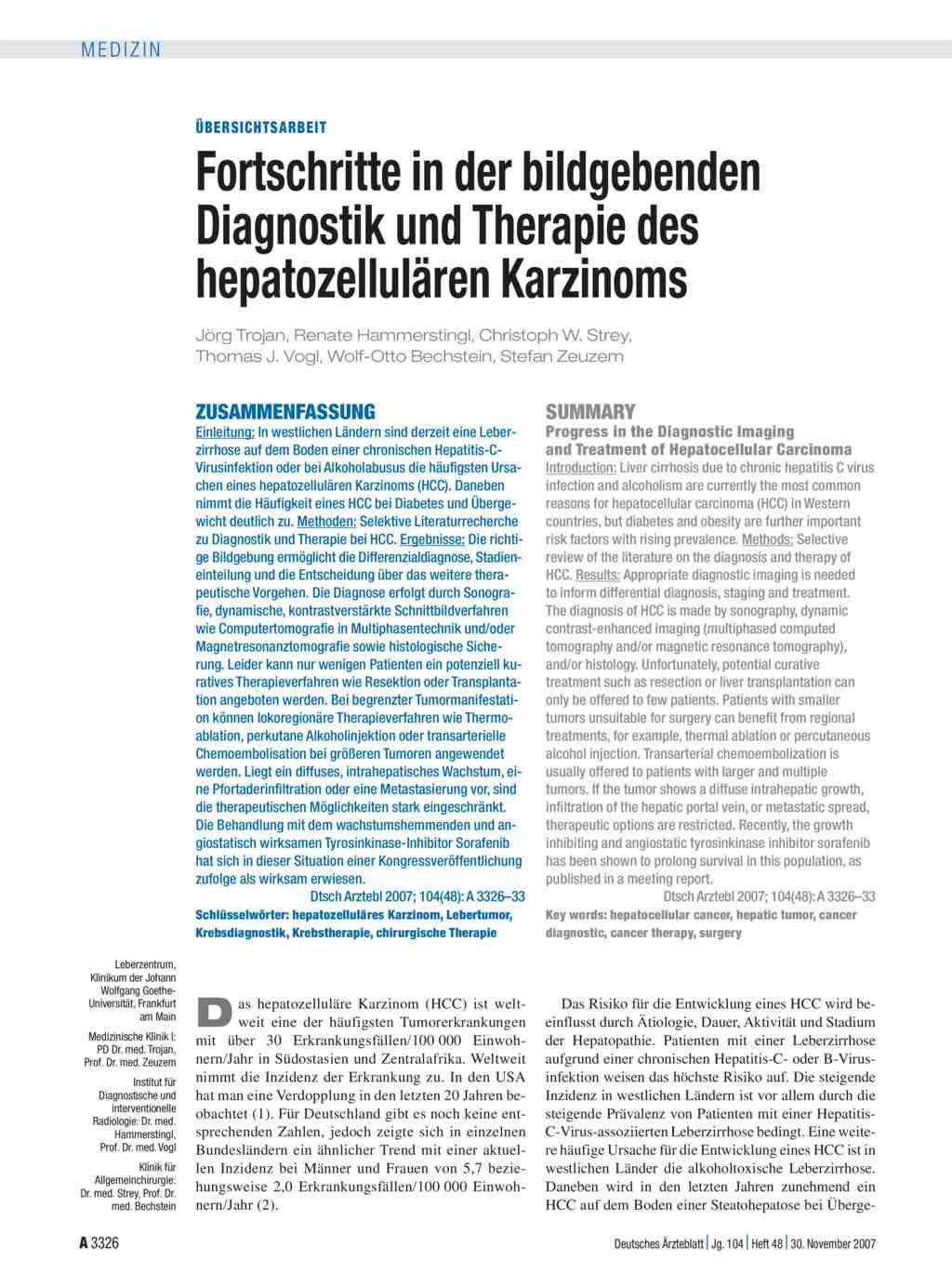 Fortschritte in der bildgebenden Diagnostik und Therapie des ...