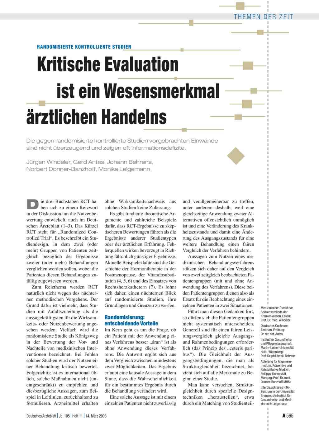 Randomisierte kontrollierte Studien: Kritische Evaluation ist ein ...