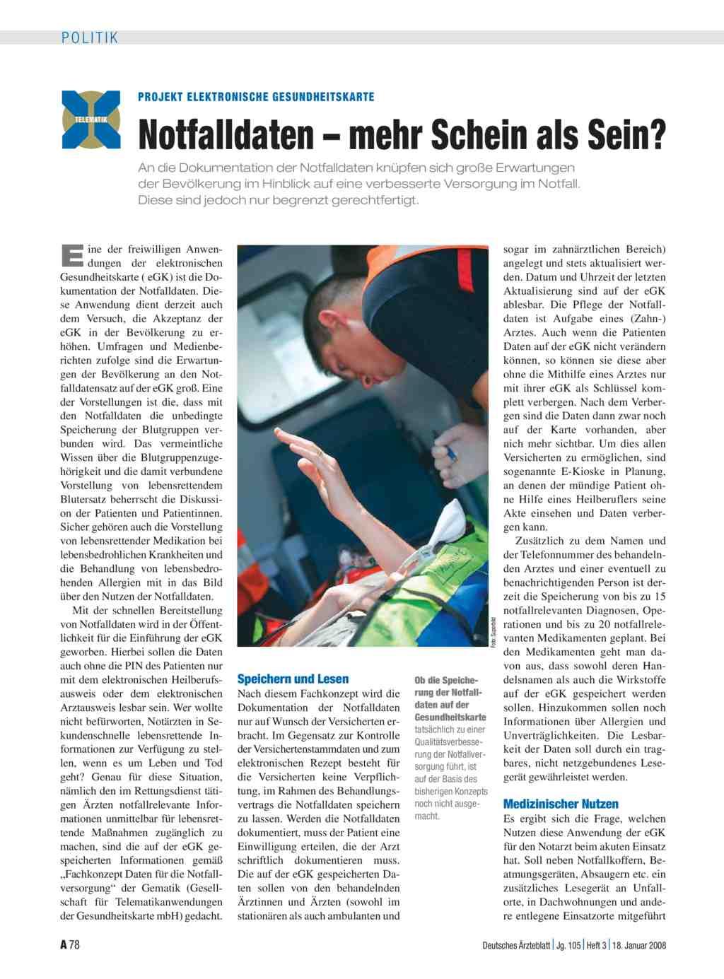 Projekt Elektronische Gesundheitskarte: Notfalldaten – mehr Schein ...
