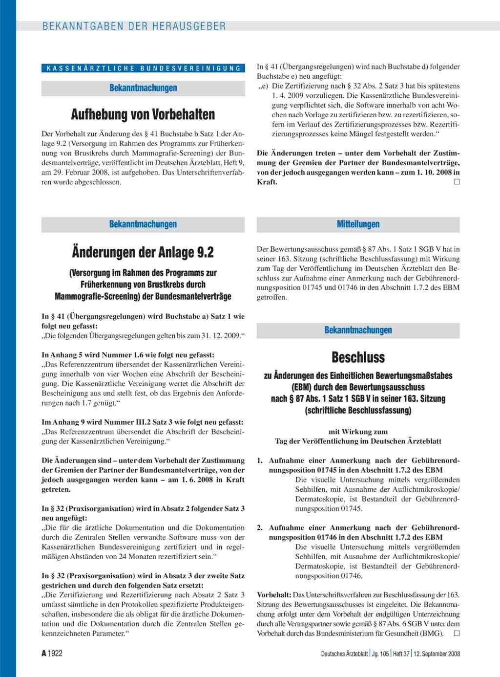 Bekanntmachungen: Änderungen der Anlage 9.2 (Versorgung im Rahmen ...