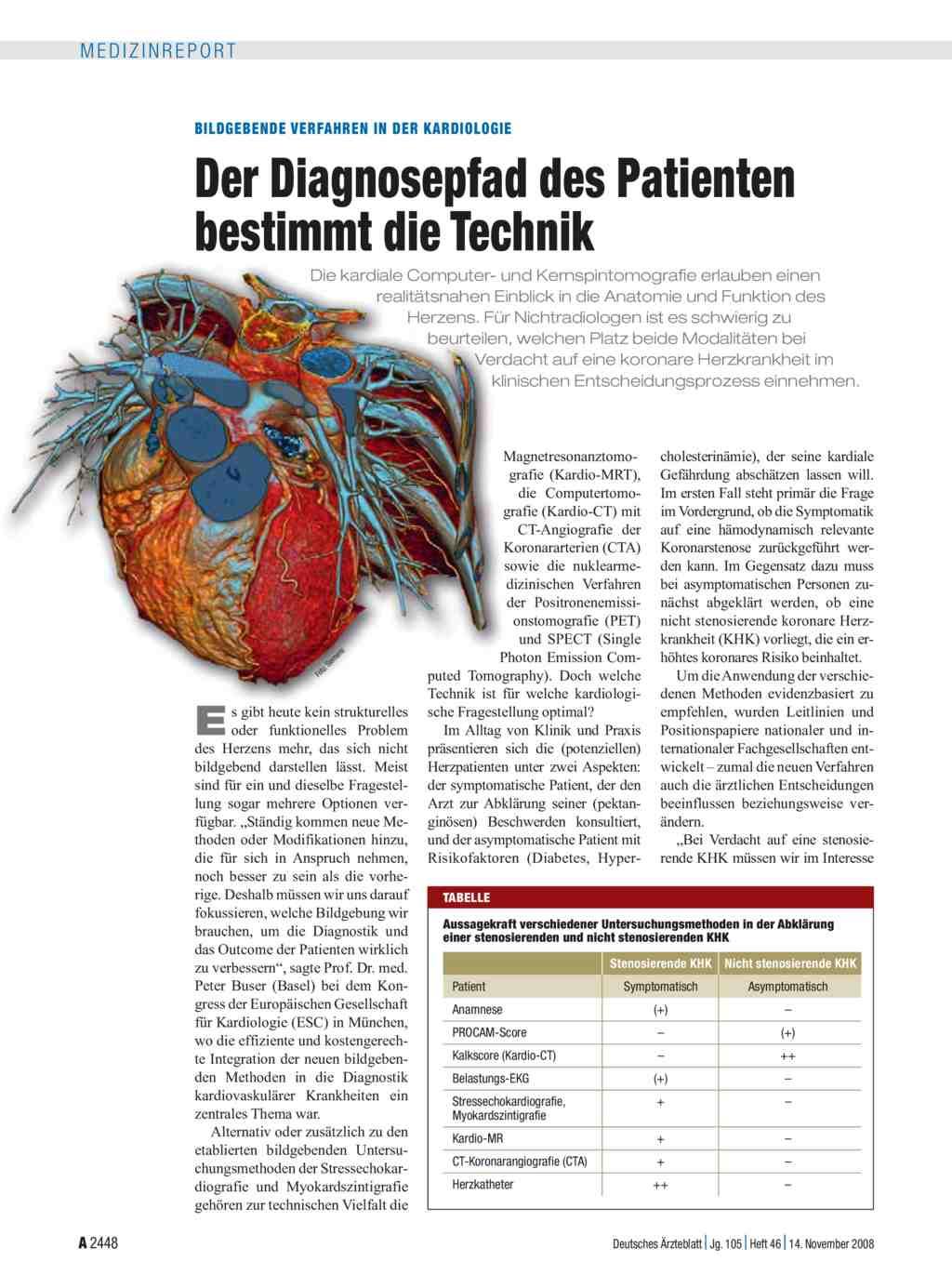 Bildgebende Verfahren in der Kardiologie: Der Diagnosepfad des ...