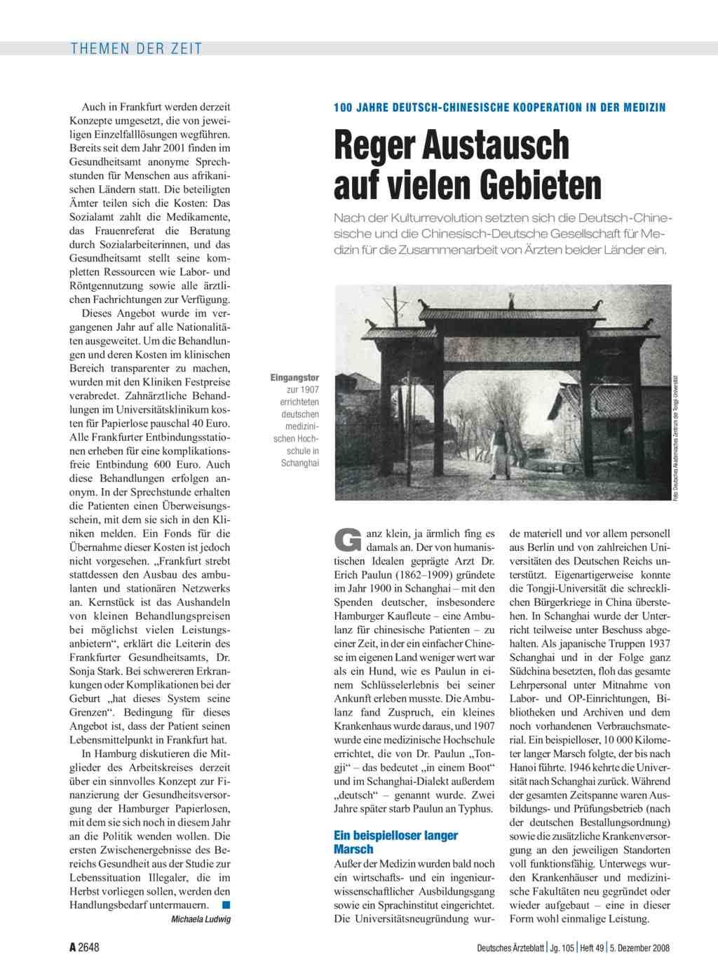 100 Jahre Deutsch-Chinesische Kooperation in der Medizin: Reger ...