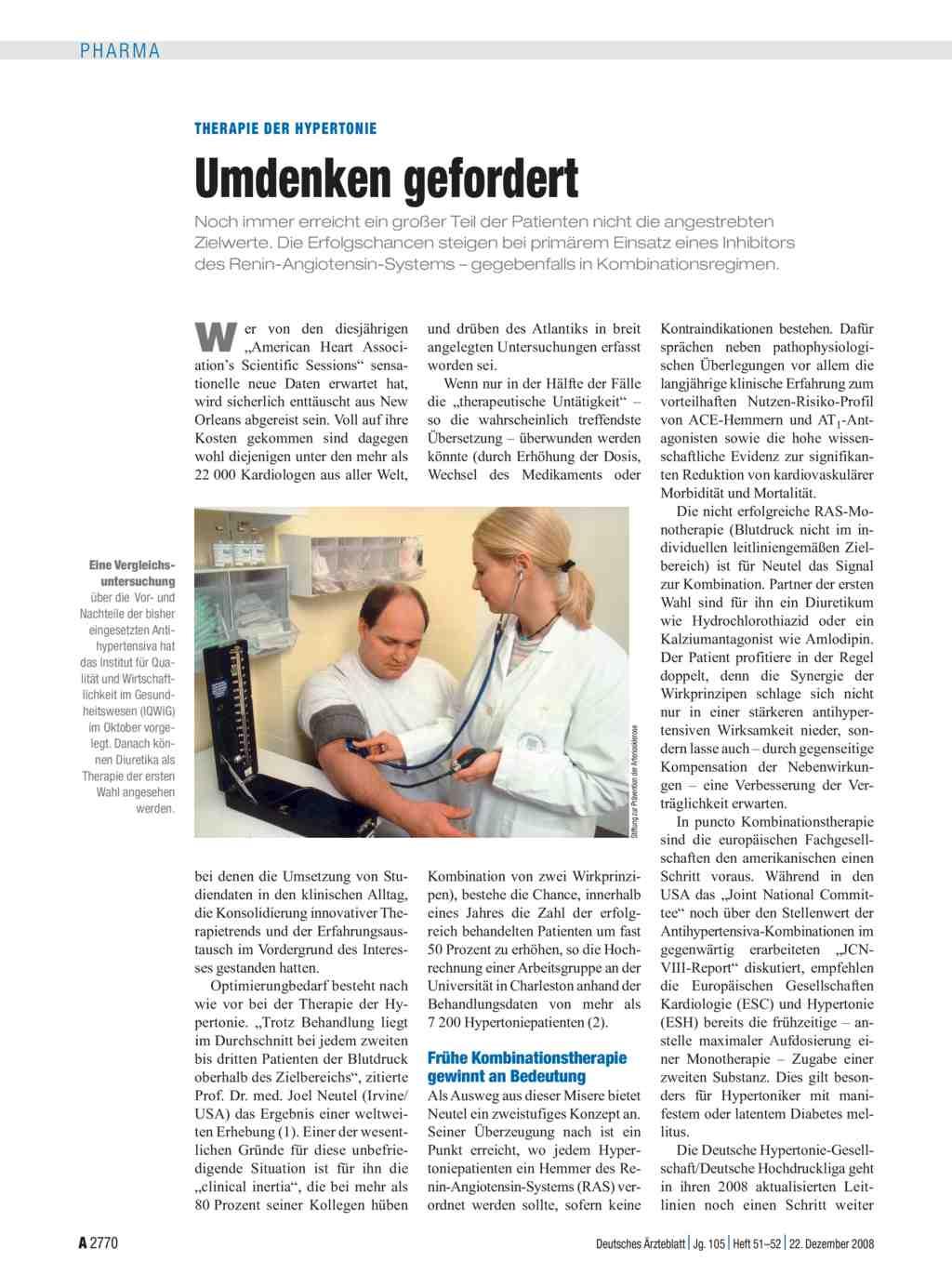 Therapie der Hypertonie: Umdenken gefordert