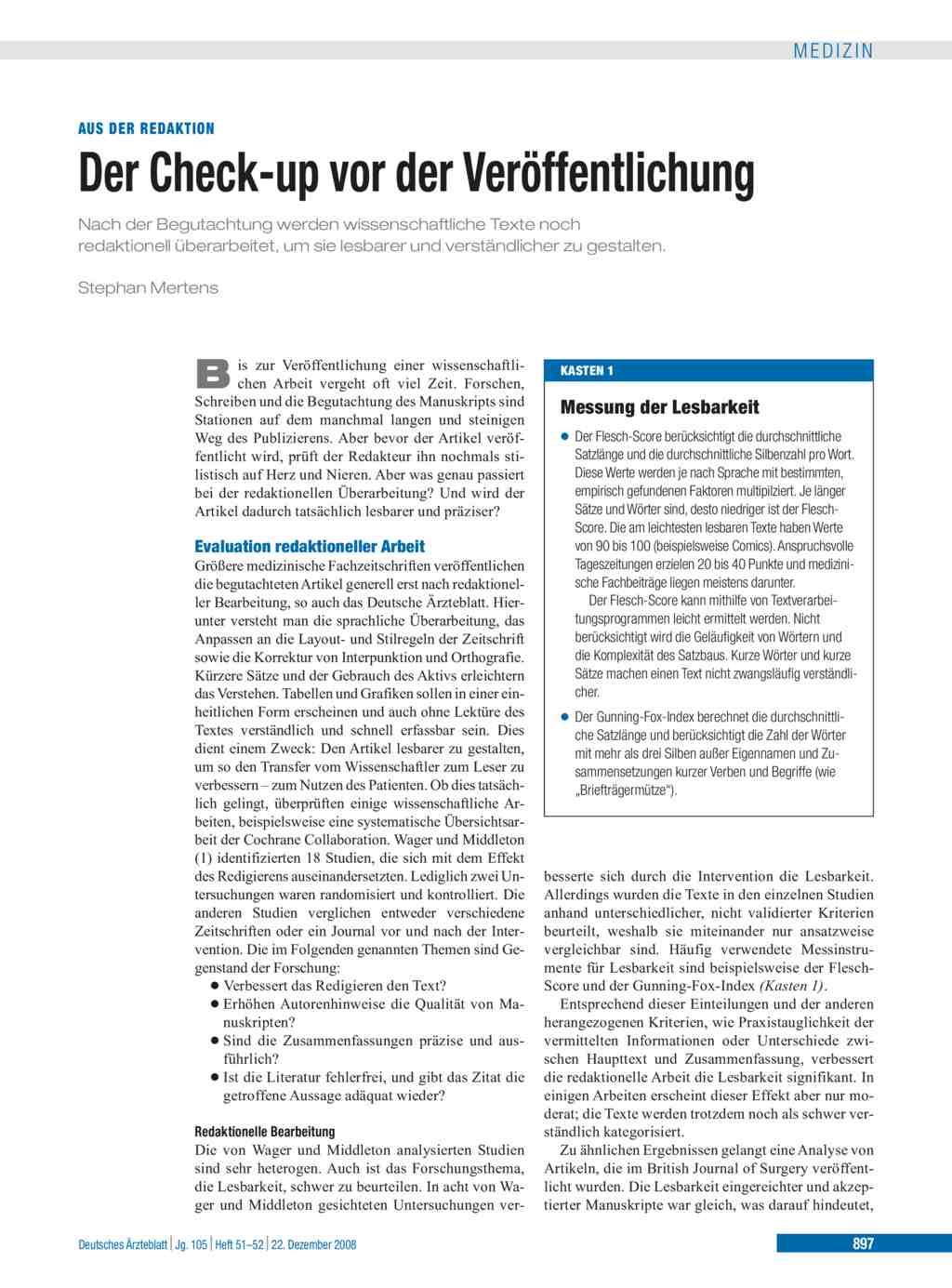 Der Check Up Vor Der Veröffentlichung