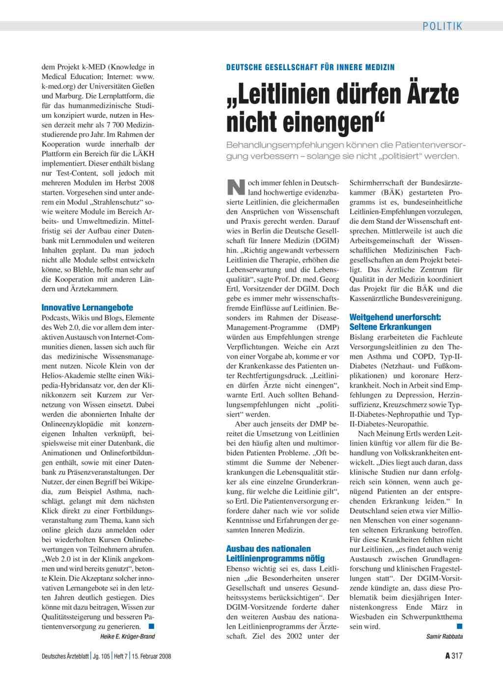 Deutsche gesellschaft f r innere medizin leitlinien for Medizin studieren schweiz