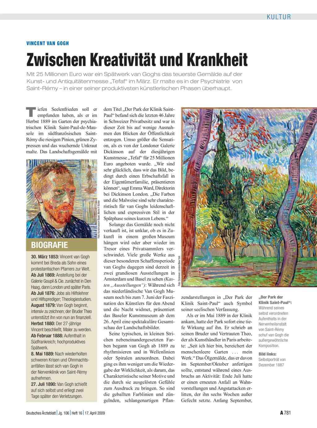 vincent van gogh zwischen kreativitt und krankheit - Van Gogh Lebenslauf