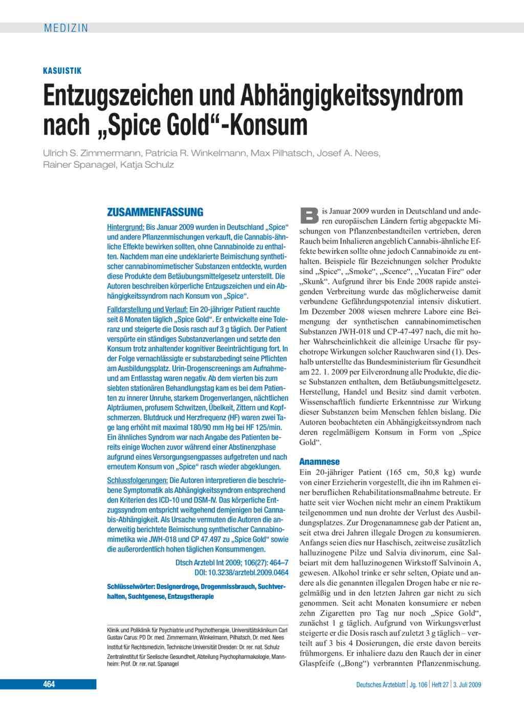 Entzugszeichen Und Abhängigkeitssyndrom Nach Spice Gold Konsum