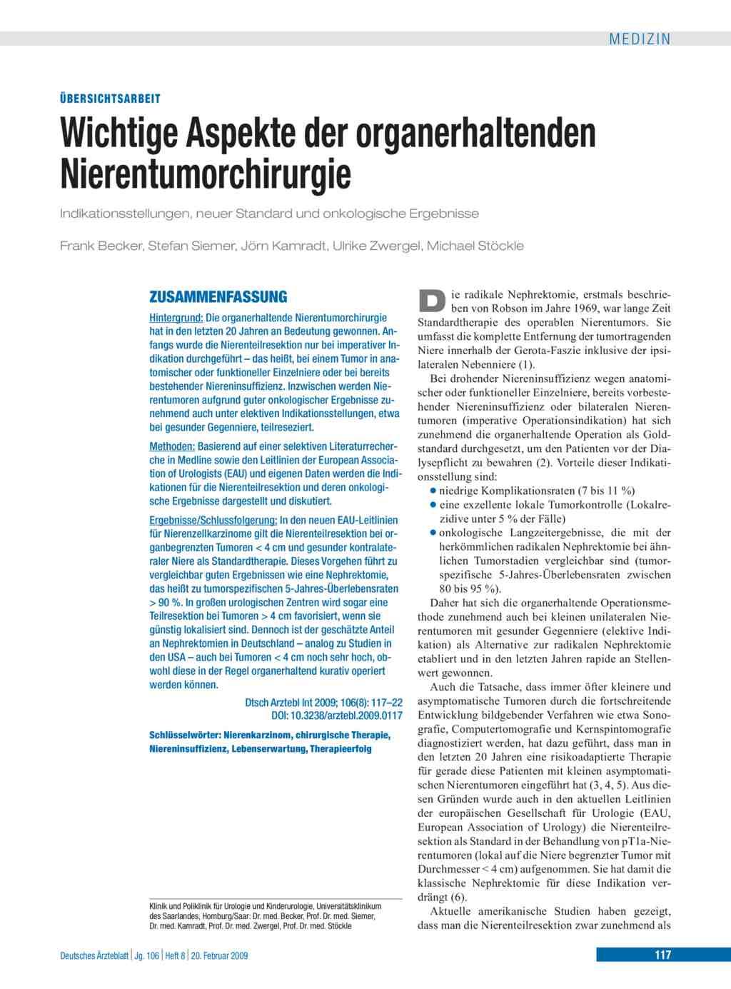 Wichtige Aspekte der organerhaltenden Nierentumorchirurgie