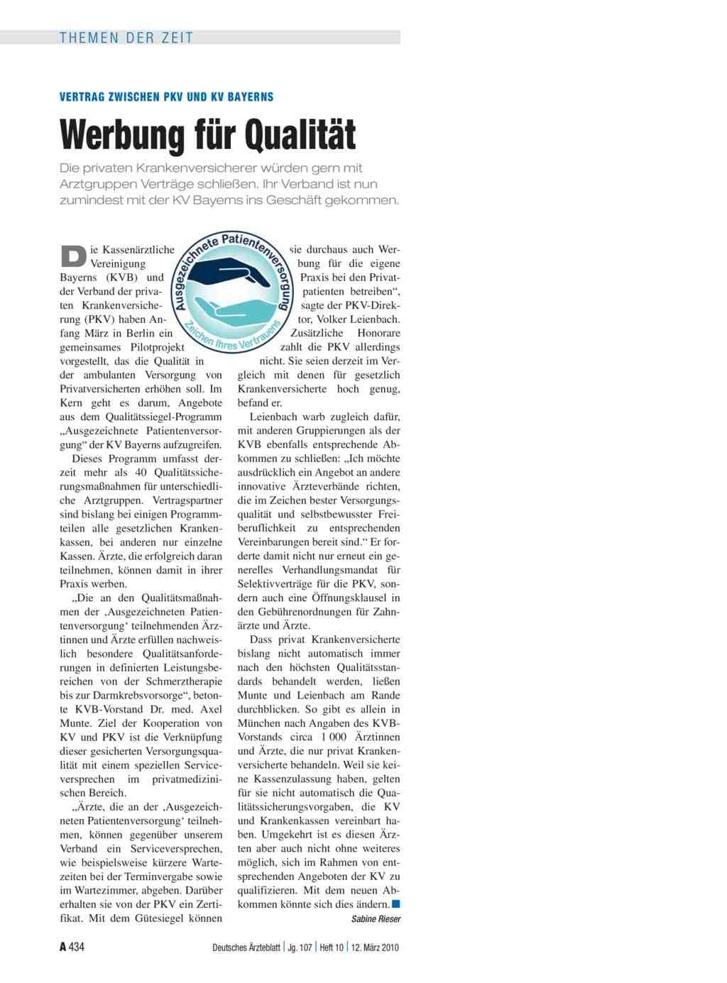 Vertrag Zwischen Pkv Und Kv Bayerns Werbung Für Qualität