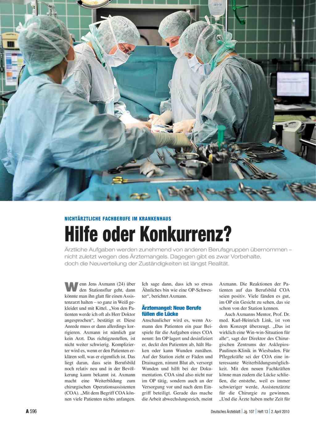 Nichtärztliche Fachberufe im Krankenhaus: Hilfe oder Konkurrenz?