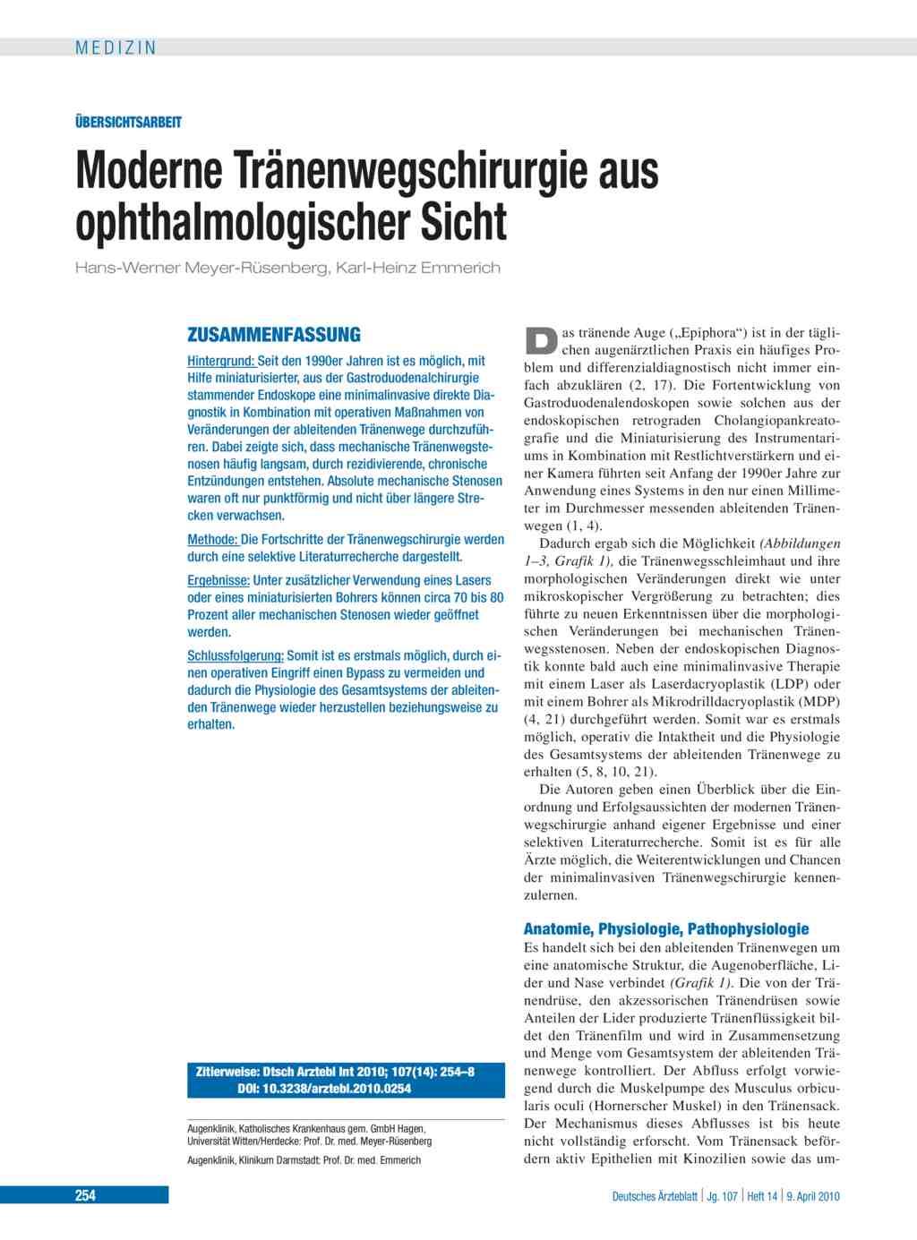Moderne Tränenwegschirurgie aus ophthalmologischer Sicht