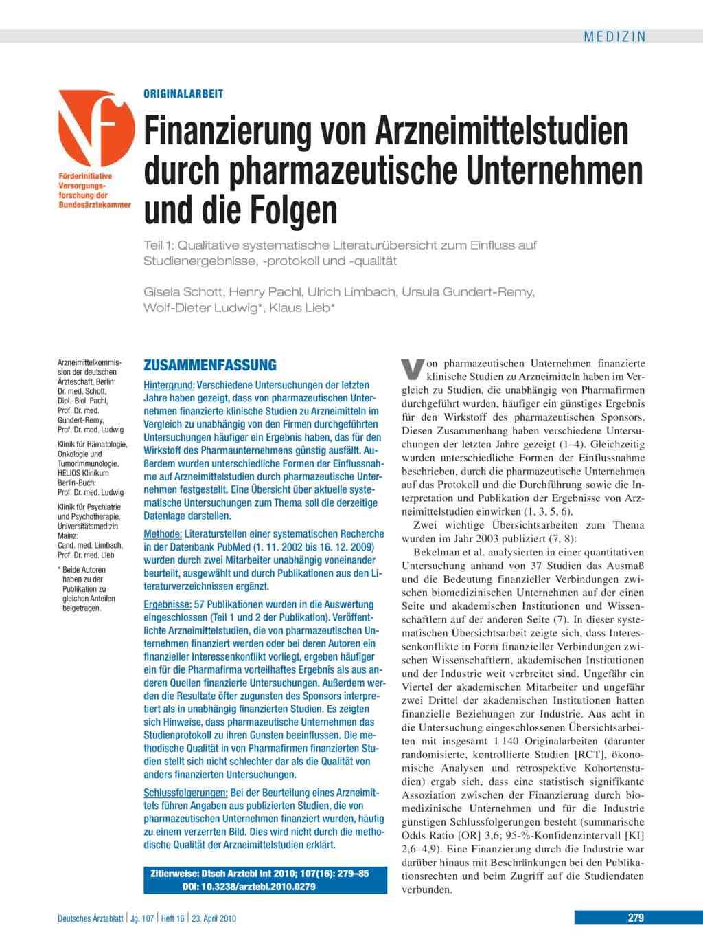 Finanzierung von Arzneimittelstudien durch pharmazeutische ...
