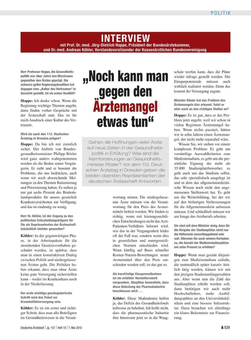 Interview mit Prof. Dr. med. Jörg-Dietrich Hoppe, Präsident der ...