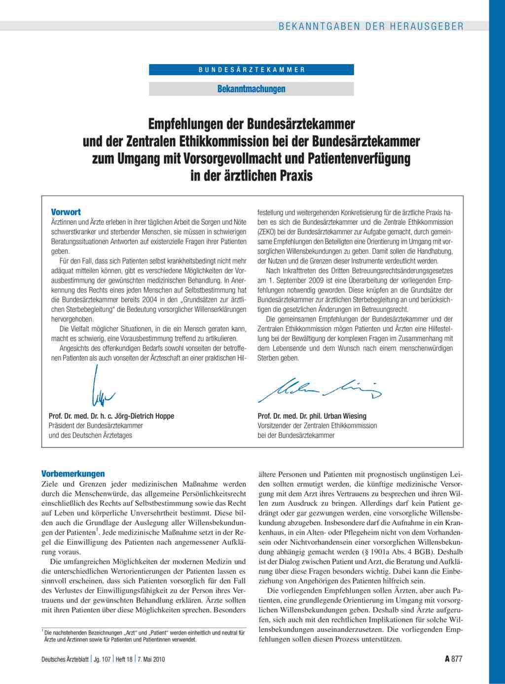 Bekanntmachungen Empfehlungen Der Bundesärztekammer Und Der
