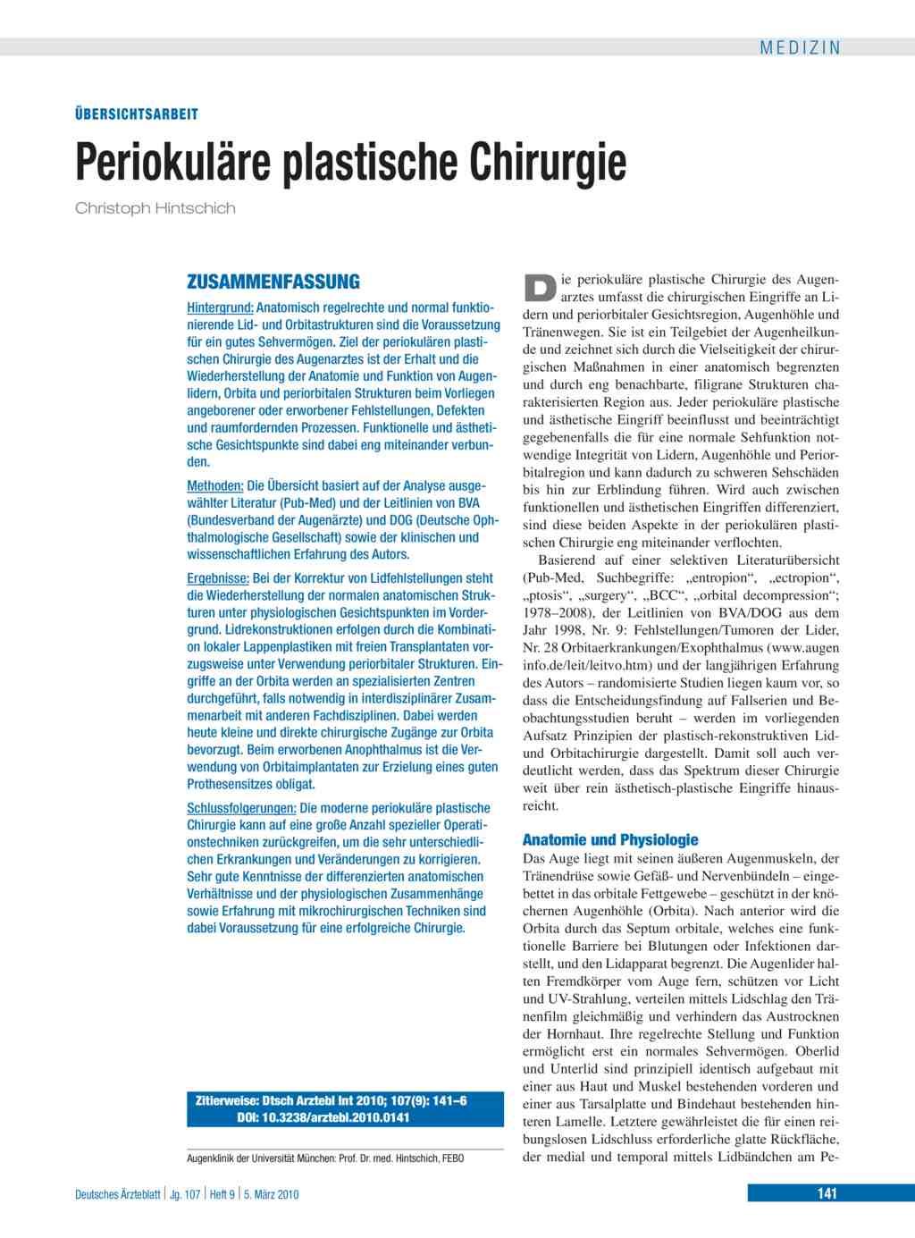 Periokuläre plastische Chirurgie