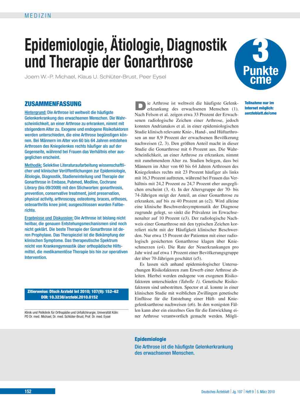 Epidemiologie, Ätiologie, Diagnostik und Therapie der Gonarthrose