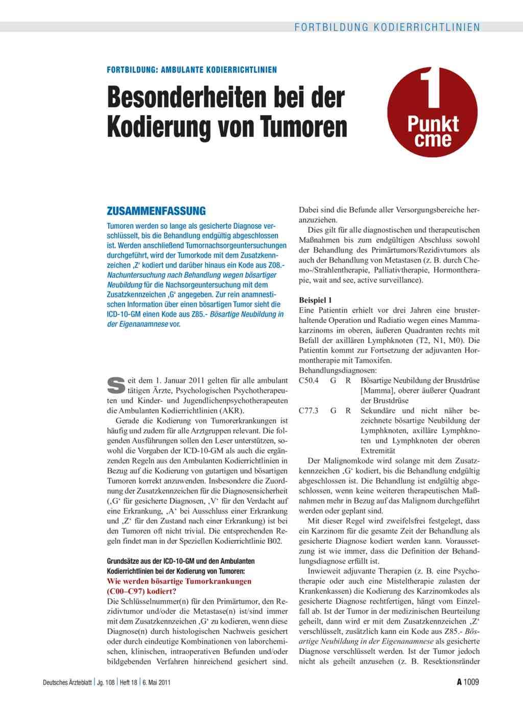 Ambulante Kodierrichtlinien: Besonderheiten bei der Kodierung von ...