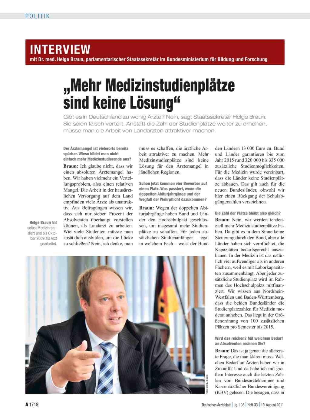Interview mit Dr. med. Helge Braun, parlamentarischer Staatssekretär ...