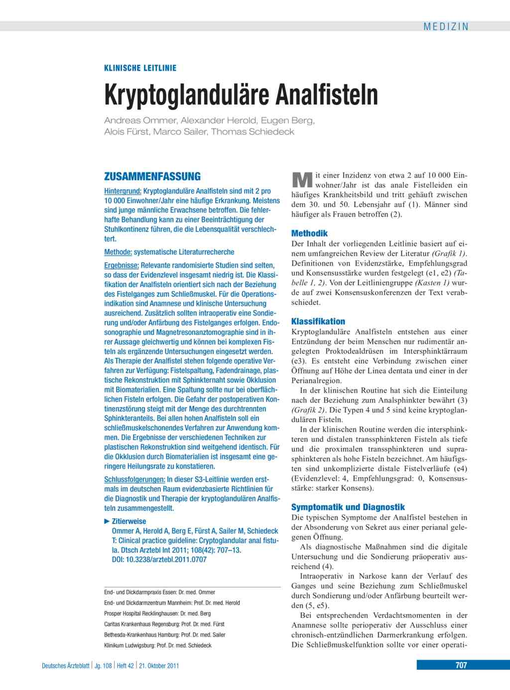 Kryptoglanduläre Analfisteln